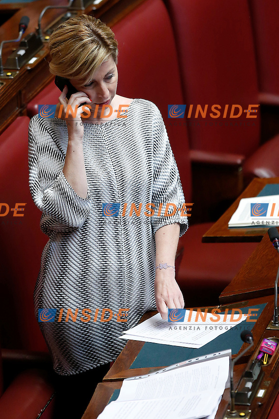 Dorina Bianchi con un vestito che le sottolinea le forme<br /> Roma 28-04-2015 Camera. Voto sulle pregiudiziali di costituzionalit&agrave;' sulla riforma elettorale, Italicum.<br /> Chamber of Deputies. Votation about electoral reform.<br /> Photo Samantha Zucchi Insidefoto