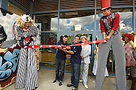The ribbon cutting for the opening of Coney Island Brewery.