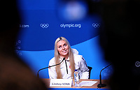 American skier Lindsey Vonn speaks at a press conference at the Winter Olympics media centre in Pyeongchang, South Korea, 9 February 2018. Photo: Daniel Karmann/dpa /MediaPunch ***FOR USA ONLY***