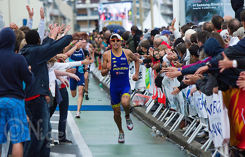 17 SEP 2011 - LA BAULE, FRA - Alessandro Fabian takes fifth place helping his team, Poissy Triathlon, to take second place in the series at the final round of the men's French Grand Prix Series at the Triathlon Audencia in La Baule, France (PHOTO (C) NIGEL FARROW)
