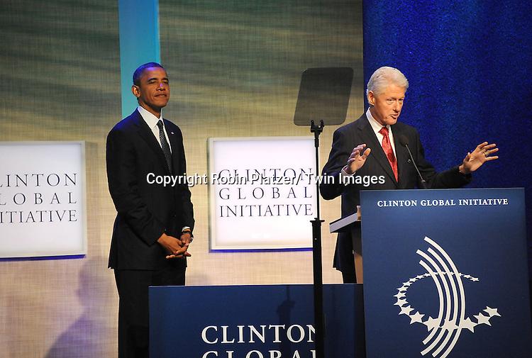 President Barack Obama and President Bill Clinton at the Clinton Global Initiative where President Barack Obama spoke on September 25, 2012 at the Sheraton in New York City.