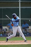 Tampa Bay Rays Pedro Diaz (24) bats during a Minor League Spring Training game against the Baltimore Orioles on March 16, 2019 at the Buck O'Neil Baseball Complex in Sarasota, Florida.  (Mike Janes/Four Seam Images)