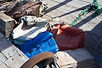 Lampedusa, cemetery of boats used by immigrants to reach Europe accross the sea, some personal objects left aboard