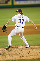 LSU Tigers pitcher Jesse Stallings (37) delivers a pitch to the plate during a Southeastern Conference baseball game against the Texas A&M Aggies on April 23, 2015 at Alex Box Stadium in Baton Rouge, Louisiana. LSU defeated Texas A&M 4-3. (Andrew Woolley/Four Seam Images)