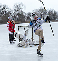 Skating and hockey on Lake Chipican at Canatara Park.