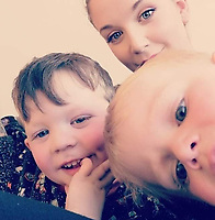 UPDATED CAPTION<br /> Pictured: Erin Harvey with her two sons, Zach the boy on the right died, Harley the boy on the left was injured during a caravan fire in Ffair Rhos, Ceredigion, Wales, UK.<br /> Re: Three-year-old Zach Harvey was killed in a caravan fire in the early hours of Sunday morning at Ffair Rhos, near Tregaron, Ceredigion, west Wales.<br /> His father Shaun Harvey and his four year old brother Harley is in a critical but stable condition in hospital and his dad's condition is stable.<br /> The fire service said a touring caravan and vehicle were completely destroyed and adjacent property damaged in the blaze.<br /> Emergency services had been called to the scene at 5.35am on Sunday.