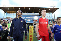 Cary, NC - Saturday April 22, 2017: Jessica McDonald, Celeste Boureille prior to a regular season National Women's Soccer League (NWSL) match between the North Carolina Courage and the Portland Thorns FC at Sahlen's Stadium at WakeMed Soccer Park.
