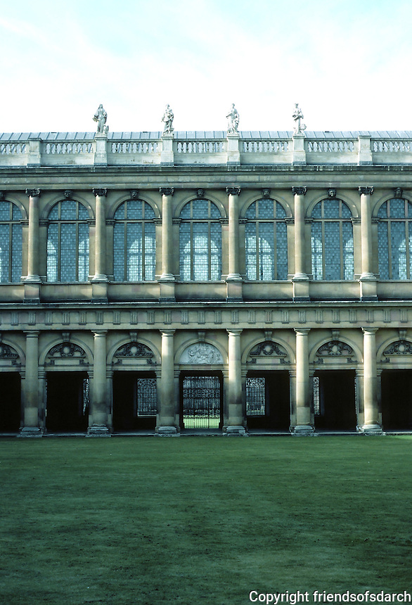 Sir Christopher Wren: Wren Library, Trinity College, Cambridge. Elevation. Photo '82.