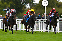 Winner of The Become a Wiltshire Freemason EBF Novice Stakes,Jamil(red cap left) ridden by Andrea Atzeni and trained by Roger Varian  during Afternoon Racing at Salisbury Racecourse on 4th October 2017