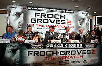 Press Conference at Wembley stadium. Boxers Carl Froch (2nd left) and George Groves (right) ahead of there rematch fight on Saturday night with a sell out 80.000 audience. London, United Kingdom. Thursday, 29th May 2014. Picture by Sean Dempsey / i-Images