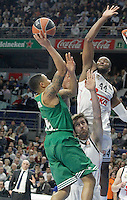 Real Madrid's Andres Nocioni (c) and Marcus Slaughter (r) and Panathinaikos Athens' A.J. Slaughter during Euroleague match.January 22,2015. (ALTERPHOTOS/Acero) /NortePhoto<br />