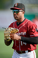Altoona Curve Bralin Jackson (14) warms up before a game against the Richmond Flying Squirrels on May 15, 2018 at Peoples Natural Gas Field in Altoona, Pennsylvania.  Altoona defeated Richmond 5-1.  (Mike Janes/Four Seam Images)
