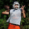 Jared Kaiman, Great Neck North quarterback, throws a pass during football practice at Great Neck North High School on Monday, Aug. 22, 2016.