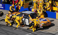 Apr 26, 2009; Talladega, AL, USA; NASCAR Sprint Cup Series driver Kyle Busch pits during the Aarons 499 at Talladega Superspeedway. Mandatory Credit: Mark J. Rebilas-