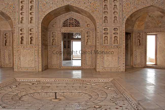 Agra, India. Shah Jahan's (builder of the Taj Mahal) prison cell at the Agra Fort.