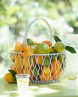 Detail of a wire basket of oranges, limes and lemons