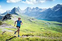 Trail running a loop connecting Glattalp and Charetalp in kanton Schywz, Switzerland