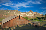 John Day Fossil Beds National Monument, OR<br /> Weathered barn in the John Day River valley beneath Sheep Rock in the monument's Sheep Rock Unit