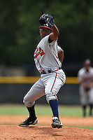 GCL Braves pitcher Clayvon Sambola (63) delivers a pitch during a game against the GCL Yankees 2 on June 23, 2014 at the Yankees Minor League Complex in Tampa, Florida.  GCL Yankees 2 defeated the GCL Braves 12-4.  (Mike Janes/Four Seam Images)