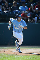 Tyler Ramirez (14) of the North Carolina Tar Heels runs to first base during a game against the UCLA Bruins at Jackie Robinson Stadium on February 20, 2016 in Los Angeles, California. UCLA defeated North Carolina, 6-5. (Larry Goren/Four Seam Images)