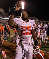 Clemson running back Roderick McDowell (25) waves to the crowd after NCAA football game at Scott Stadium in Charlottesville, VA. Clemson defeated Virginia 59-10. Photo/Andrew Shurtleff