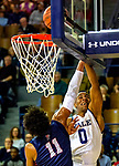 February 28, 2020: Jalen Gabbindon [white] of Yale has his shot blocked as the Bulldogs defeated Penn, 76-73.  Yale was down 10 points with 2:28 left  .The exciting Ivy League game was held at Payne Whitney Gymnasium in New Haven Connecticut.  Heary/Eclipsesportswire/CSM