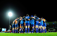 19 December 2014; Guinness Pro12 2014/15, <br /> Leinster players gather for a team huddle before the game. <br /> Leinster v Connacht, RDS, Ballsbridge, Dublin. Picture credit: Tommy Grealy/actionshots.ie