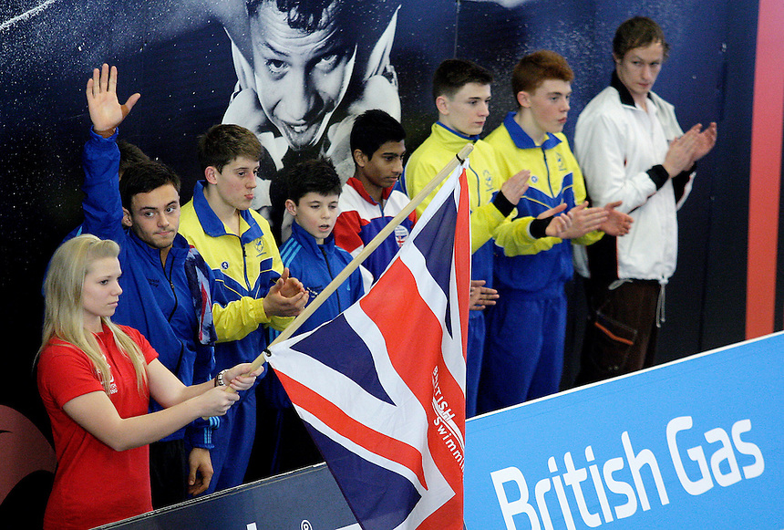 Tom Daley waves to the crowd before the Mens Final of the Platform.<br /> <br /> Photo by James Marsh/CameraSport<br /> <br /> Diving - British Gas National Cup 2014 - Day 3 - Sun 02 February 2014 - Southend Leisure &amp; Tennis Centre - Garon Park - Southend on Sea<br /> <br /> &copy; CameraSport - 43 Linden Ave. Countesthorpe. Leicester. England. LE8 5PG - Tel: +44 (0) 116 277 4147 - admin@camerasport.com - www.camerasport.com