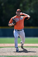 Baltimore Orioles pitcher Max Schuh (39) during a minor league spring training game against the Minnesota Twins on March 28, 2015 at the Buck O'Neil Complex in Sarasota, Florida.  (Mike Janes/Four Seam Images)