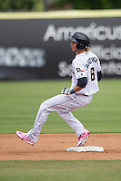 San Antonio Missions designated hitter Travis Jankowski (6) stops a second base after doubling during the Texas League baseball game against the Corpus Christi Hooks on May 10, 2015 at Nelson Wolff Stadium in San Antonio, Texas. The Missions defeated the Hooks 6-5. (Andrew Woolley/Four Seam Images)