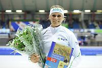 SCHAATSEN: HEERENVEEN: 25-10-2014, IJsstadion Thialf, Marathonschaatsen, KPN Marathon Cup 2, winnares Dames Irene Schouten (#80), ©foto Martin de Jong