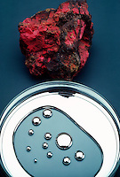 MERCURY & RARE CRYSTAL CINNABAR<br /> Elemental Form & HgS, Chief Ore Of Mercury<br /> Cinnabar, pictured at top, is also known as mercuric sulfide. Mercury is liquid at room temperature.