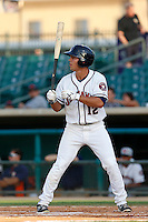 Joe Sclafani #12 of the Lancaster JetHawks bats against the Bakersfield Blaze at The Hanger on July 2, 2013 in Adelanto, California. Lancaster defeated Bakersfield, 12-1. (Larry Goren/Four Seam Images)