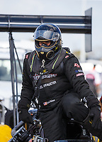 Oct 15, 2016; Ennis, TX, USA; NHRA top fuel driver Scott Palmer during qualifying for the Fall Nationals at Texas Motorplex. Mandatory Credit: Mark J. Rebilas-USA TODAY Sports