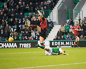 4th November 2017, Easter Road, Edinburgh, Scotland; Scottish Premiership football, Hibernian versus Dundee; Dundee's Marcus Haber flattens Hibernian's Ryan Porteous