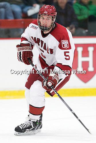 Dan Ford (Harvard - 5) - The Harvard University Crimson and Quinnipiac University Bobcats played to a 2-2 tie on Saturday, November 5, 2011, at Bright Hockey Center in Cambridge, Massachusetts.