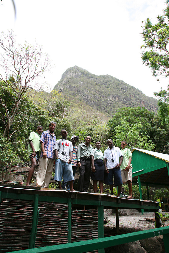 Jimmy Haynes (with glasses) and the Gros Piton guides of Fond Gens Libre