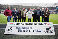 Lee Trundle with match sponsors during the Premier League match between Swansea City and Everton at The Liberty Stadium, Swansea, Wales, UK. Saturday 14 April 2018