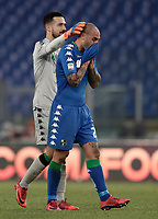 Calcio, Serie A: AS Roma - Sassuolo, Roma, stadio Olimpico, 30 dicembre 2017.<br /> Sassuolo's Andrea Consigli (l) greet Sassuolo's Paolo Cannavaro (r) at the end of the Italian Serie A football match between AS Roma and Sassuolo at Rome's Olympic stadium, 30 December 2017. <br /> Sassuolo and Roma drawns 1-1.<br /> UPDATE IMAGES PRESS/Isabella Bonotto