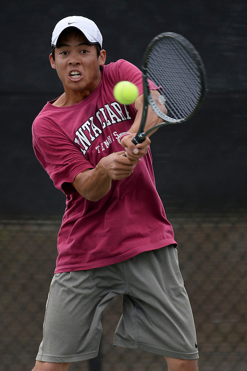 April 24, 2013; San Diego, CA, USA; Santa Clara Broncos player Tom Pham during the WCC Tennis Championships at Barnes Tennis Center.