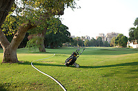 Egypt / Cairo / 29.7.2012 / A golf bag in the middle of the green. Cairo, Egypt. 2012.<br />
