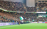 Stockholm 2014-09-21 Fotboll Superettan Hammarby IF - Syrianska FC :  <br /> Vy &ouml;ver Tele2 Arena med publik p&aring; l&auml;ktarna under matchen mellan Hammarby och Syrianska <br /> (Foto: Kenta J&ouml;nsson) Nyckelord:  Superettan Tele2 Arena Hammarby HIF Bajen Syrianska FC SFC supporter fans publik supporters inomhus interi&ouml;r interior