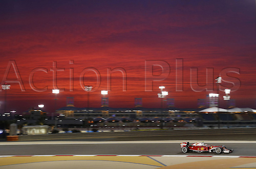 01.04.2016. Bahrain. FIA Formula One World Championship 2016, Grand Prix of Bahrain, Practise day.  7 Kimi Raikkonen (FIN, Scuderia Ferrari) as the sun goes down over the circuit