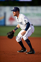 Charlotte Stone Crabs first baseman Dalton Kelly (7) during a game against the Palm Beach Cardinals on April 11, 2017 at Charlotte Sports Park in Port Charlotte, Florida.  Palm Beach defeated Charlotte 12-6.  (Mike Janes/Four Seam Images)