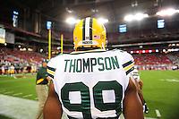 Aug. 28, 2009; Glendale, AZ, USA; Green Bay Packers linebacker (99) Jeremy Thompson against the Arizona Cardinals during a preseason game at University of Phoenix Stadium. Mandatory Credit: Mark J. Rebilas-