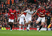 Pictured: (L-R) Neil Taylor, Phil Jones. <br /> Sunday 12 May 2013<br /> Re: Barclay's Premier League, Manchester City FC v Swansea City FC at the Old Trafford Stadium, Manchester.