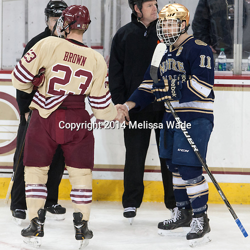 The visiting University of Notre Dame Fighting Irish defeated the Boston College Eagles 4-2 on Sunday, March 16, 2014, to win their Hockey East quarterfinals matchup at Kelley Rink in Conte Forum in Chestnut Hill, Massachusetts.