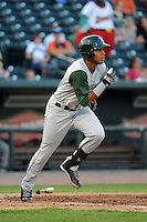 Fort Wayne TinCaps third baseman Gabriel Quintana (15) during a game against the Great Lakes Loons on August 19, 2013 at Dow Diamond in Midland, Michigan.  Great Lakes defeated Fort Wayne 12-5.  (Mike Janes/Four Seam Images)