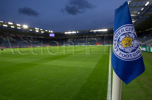 01.03.2016. King Power Stadium, Leicester, England. Barclays Premier League. Leicester versus West Bromwich Albion. A close up of a corner flag with the Leicester City Football Club emblem and the stands in the background.