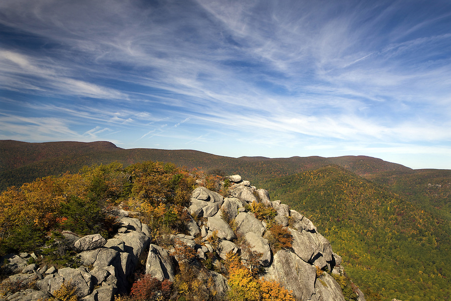 View of valley and mountains with blue sky from Old Rag Mountain, in Madison County, VA. Photo/ Andrew Shurtleff